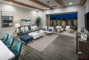 Custom outdoor landscape in Arizona from living room looking over custom backyard