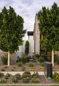 Custom outdoor landscape in Arizona on side yard with metal fence and desert landscape