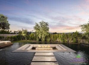 Custom outdoor landscape in Arizona backyard with custom pool and floating steps and inset fireplace