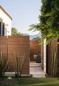Custom outdoor landscape in Arizona side yard with private bathtub