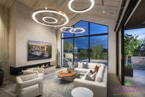 Custom outdoor landscape from the view of inside the house with custom lighting