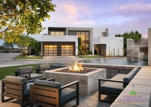 Custom outdoor landscape in Arizona for common area in neighborhood with firepit and seating