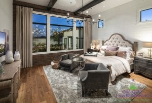 Custom outdoor landscape in Arizona from the view of master bedroom overlooking garden