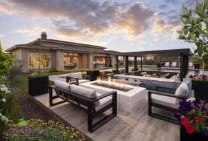 Custom outdoor landscape in Arizona backyard patio area with seating around a large firepit near a swimming pool and covered patio