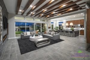 Custom outdoor landscape in Arizona view from living room over backyard entertaining area and swimming pool