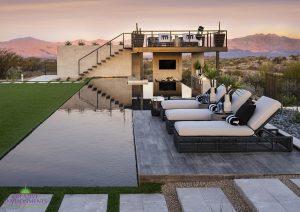 Creative Environments design and landscape at Sereno Canyon Mayne Model showing large backyard swimming pool and seating